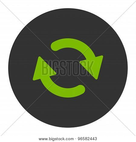 Refresh flat eco green and gray colors round button