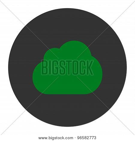 Cloud flat green and gray colors round button