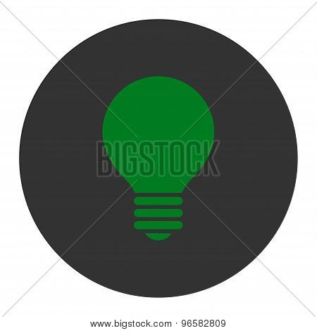Electric Bulb flat green and gray colors round button