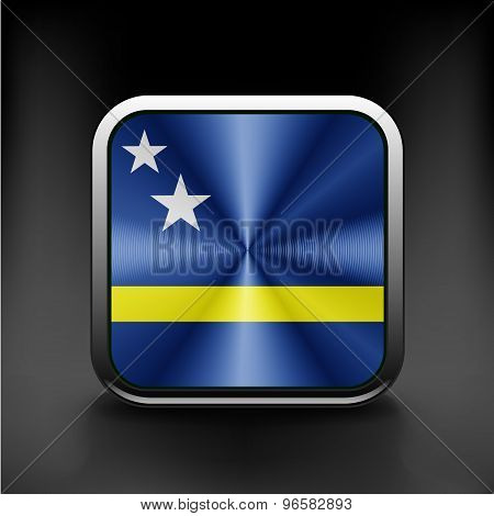 Flag of Curacao national travel icon country symbol  button