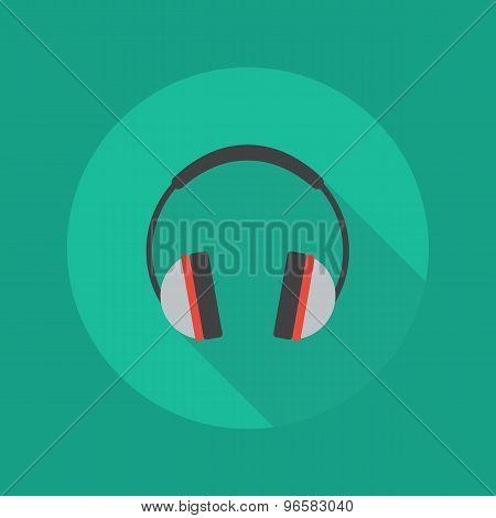 Technology Flat Icon. Headphones