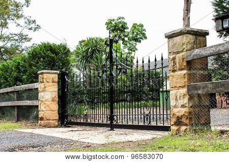 Black metal entrance gates