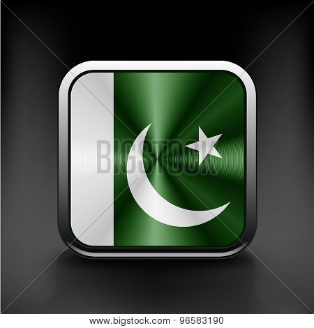 Pakistan national flag national travel icon country symbol  button