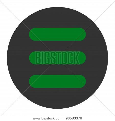 Stack flat green and gray colors round button