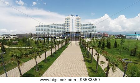 RUSSIA, SOCHI - JUL 25, 2014: Exterior of hotel Radisson Blu. Aerial view. Photo with noise from action camera.