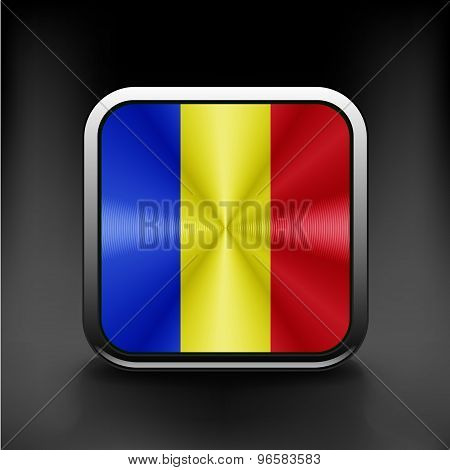 Flag of Romania national travel icon country symbol button