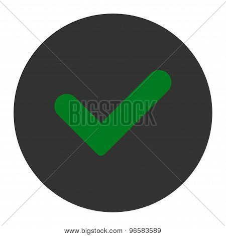 Yes flat green and gray colors round button