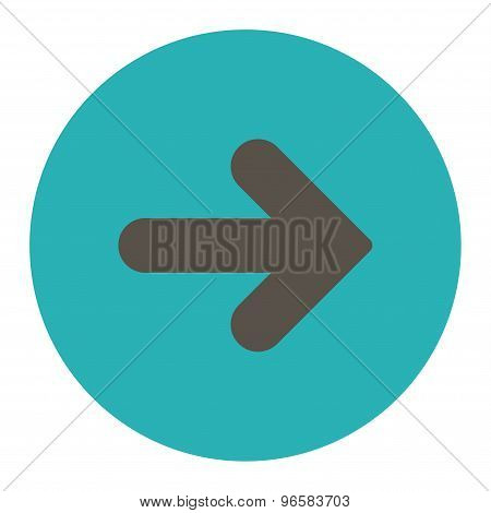 Arrow Right flat grey and cyan colors round button
