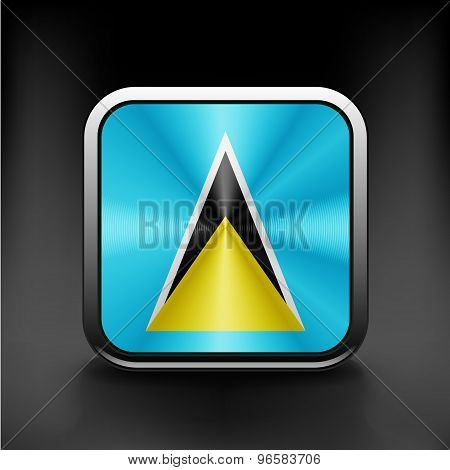 Saint Lucia flag waving form on gray background.