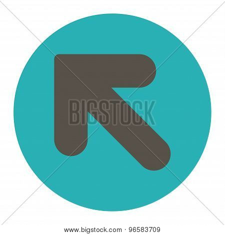 Arrow Up Left flat grey and cyan colors round button