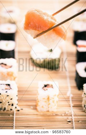 Nigiri Sushi And Chopsticks