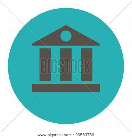 Bank flat grey and cyan colors round button