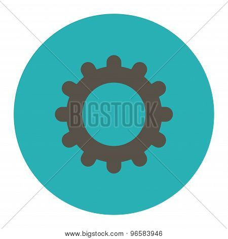 Gear flat grey and cyan colors round button