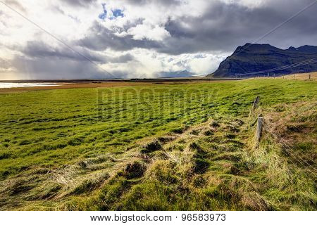 Landscape in southern part of Iceland along Highway No. 1 (Ring Road)