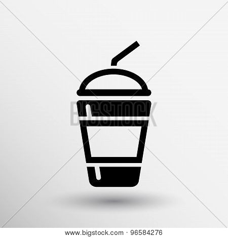 Fresh soda drink with straw fast food