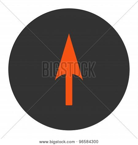 Arrow Axis Y flat orange and gray colors round button