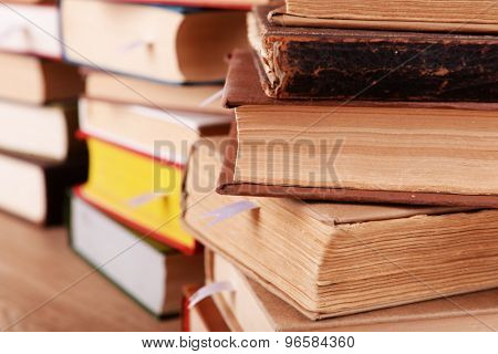 Stacks of books close up