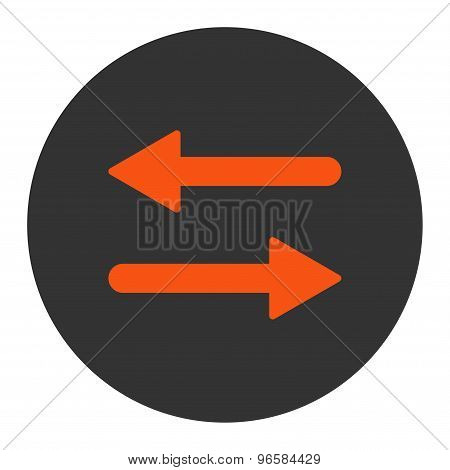 Arrows Exchange Horizontal flat orange and gray colors round button