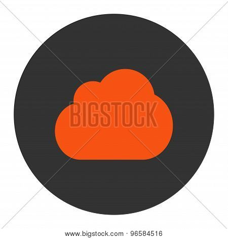Cloud flat orange and gray colors round button