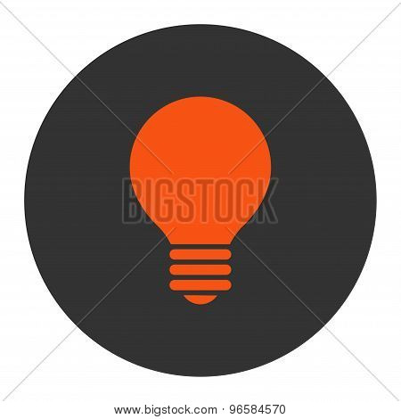 Electric Bulb flat orange and gray colors round button