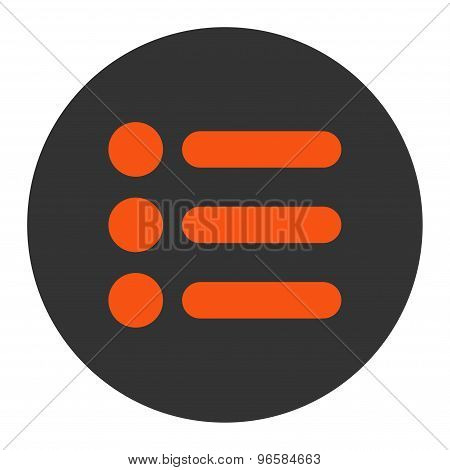Items flat orange and gray colors round button