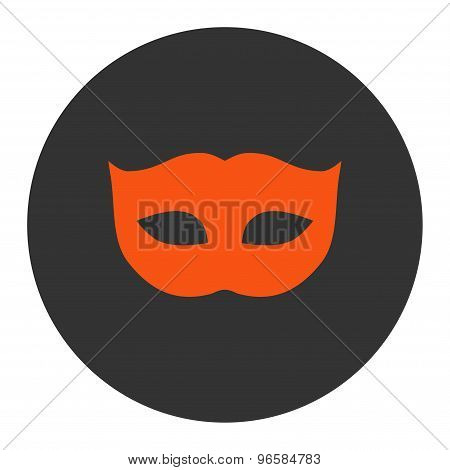 Privacy Mask flat orange and gray colors round button