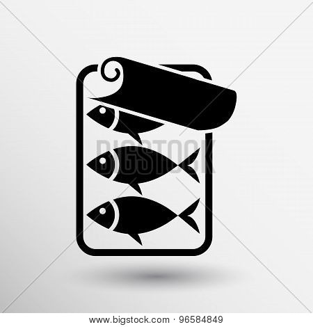 vector icon for tin fish can with ring pull