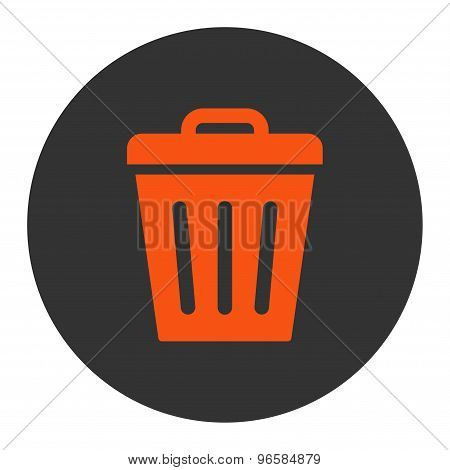 Trash Can flat orange and gray colors round button
