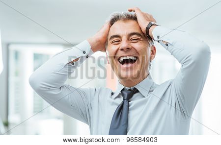 Cheerful Businessman Laughing