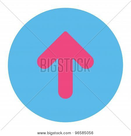 Arrow Up flat pink and blue colors round button