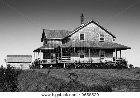 Black And White Of Cedar Shingle House