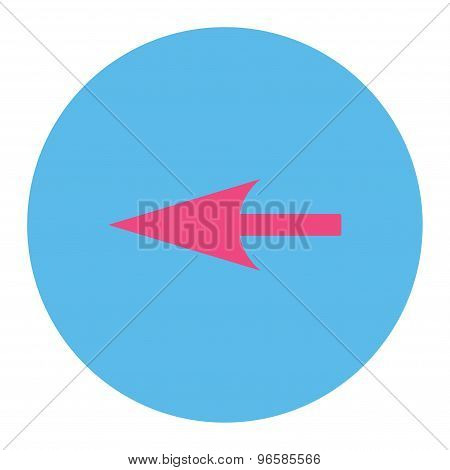 Sharp Left Arrow flat pink and blue colors round button