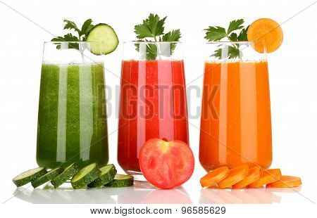 Three glasses of juice in a row.