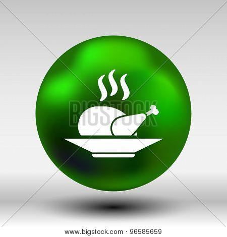 chicken grill icon logo hot meal cooking