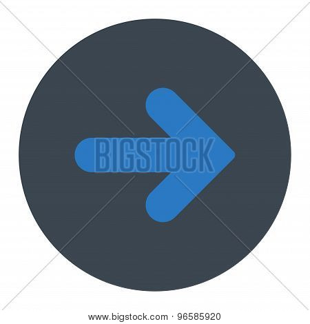 Arrow Right flat smooth blue colors round button