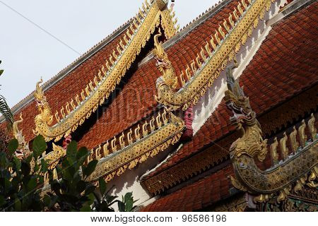 Temple Of Buddhism, Sculpture Decoration On Roof