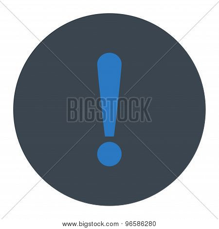 Exclamation Sign flat smooth blue colors round button