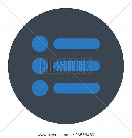 Items flat smooth blue colors round button