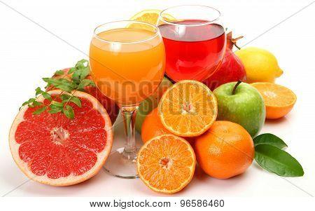 Orange juice and grapefruit juice.