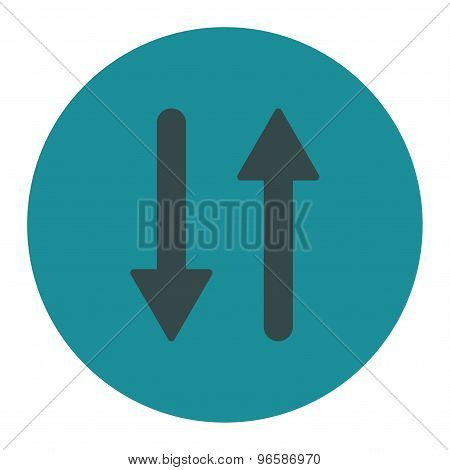 Arrows Exchange Vertical flat soft blue colors round button