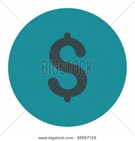 Dollar flat soft blue colors round button