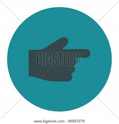 Index Finger flat soft blue colors round button