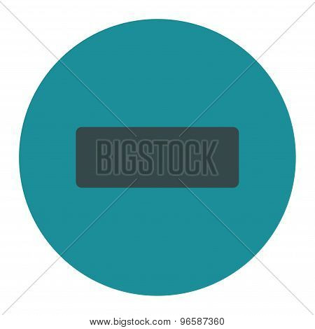 Minus flat soft blue colors round button