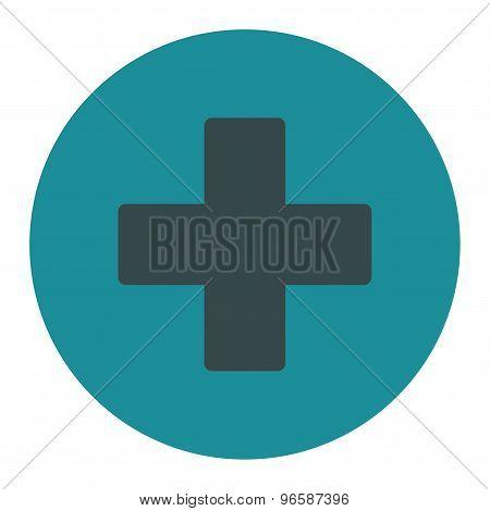 Plus flat soft blue colors round button