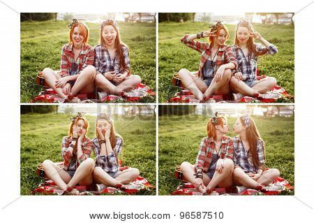 Two Young Beautiful Women Resting And Having Fun