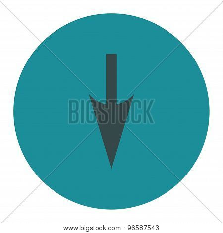 Sharp Down Arrow flat soft blue colors round button
