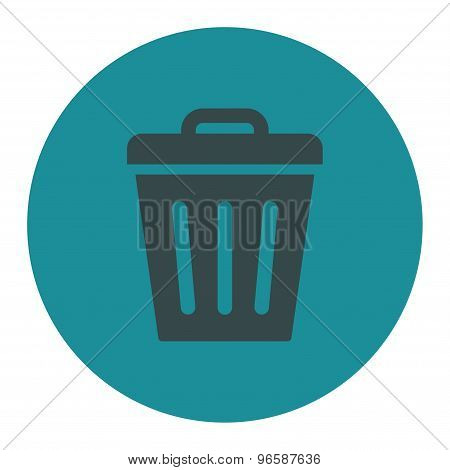 Trash Can flat soft blue colors round button
