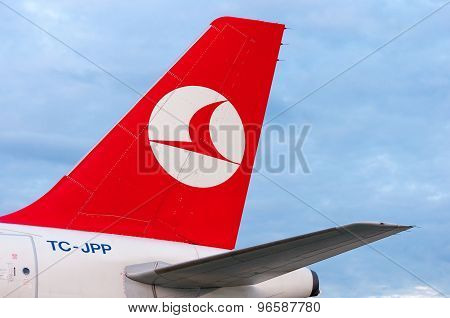 KIEV, UKRAINE - JULY 10, 2015: Turkish Airlines tail airplanes on July 2015 at Borispol. Turkishs Ai