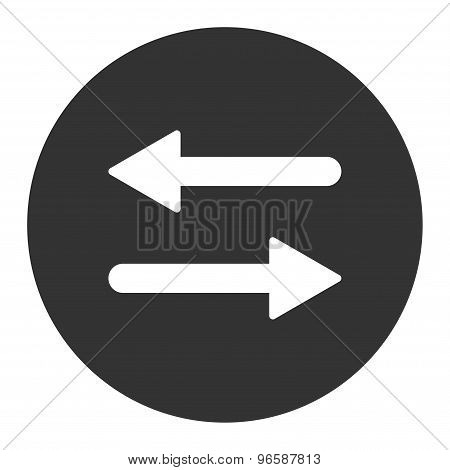 Arrows Exchange Horizontal flat white and gray colors round button