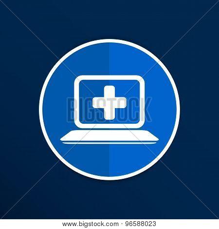 Medical care design over blue background, vector illustration